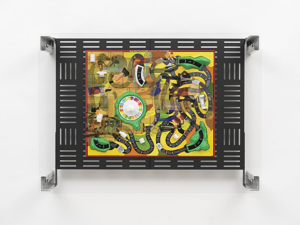 Simon Denny: Crypto Futures Game of Life Board Overprint Collage: 1960, 2018, Collage: digital print on Milton Bradley Game of Life 1960 Edition board, powder-coated server rack shelving, laser cut Plexiglas, various server rack hardware components,  © Si
