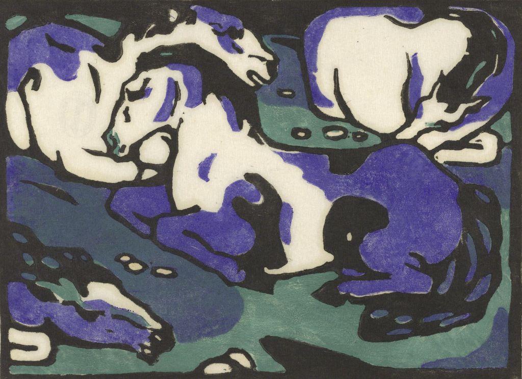 Franz Marc, Ruhende Pferde, 1911 - 1912 Holzschnitt, 16,8 x 23 cm Albertina, Wien. Dauerleihgabe der Österreichischen Ludwig-Stiftung für Kunst und Wissenschaft www.albertina.at