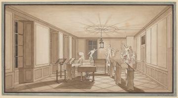 Johannes Leuzinger (Lebensdaten unbekannt), Blick in einen Akademiesaal, 1826