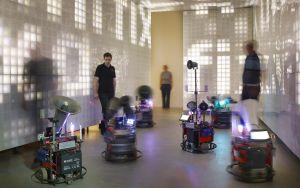 BBM (Observers of Operators of Machines): EPKOT (Experimental Prototype Killers of Tomorrow), 2018, interactive installation, mixed media (robots, displays, sound), installation view Kunsthalle Mannheim 2018, courtesy BBM, © photo: Hardy Müller, Mannheim